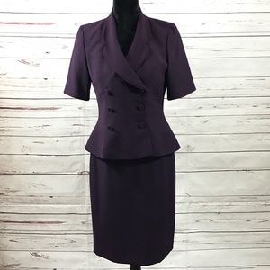 Kasper 2PC Skirt Suit Purple Retro Size 6